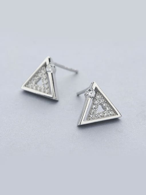 One Silver Women Triangle Shaped Zircon stud Earring 0