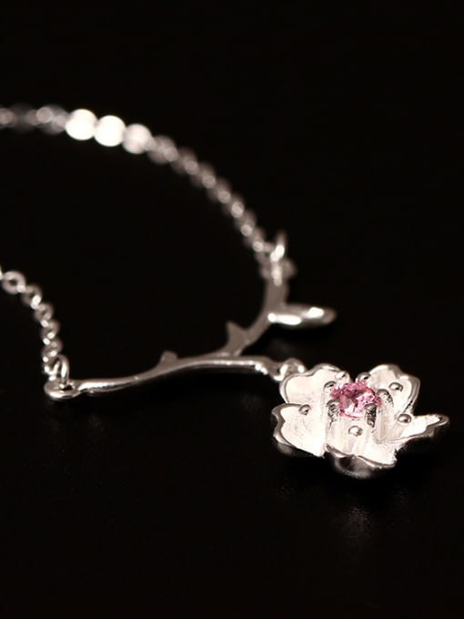 SILVER MI Creative Sweet and Lovely Cherry Blossom Necklace 1