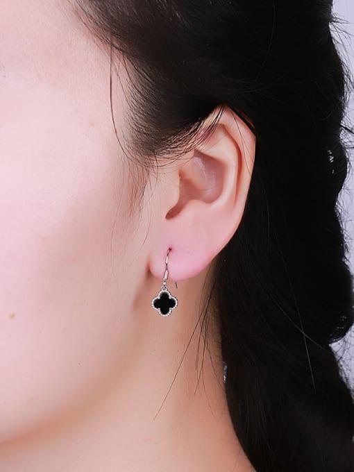 One Silver Women Black Clover Shaped hook earring 1