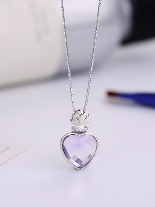 One Silver Purple Heart Shaped Zircon 2