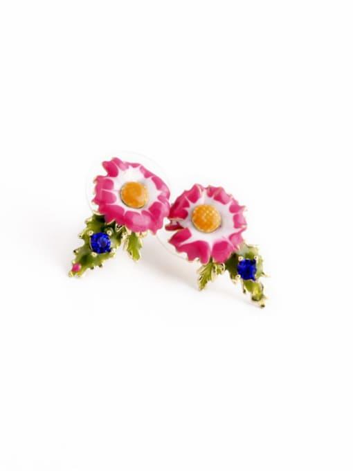 KM Lovely Flower Enamel stud Earring