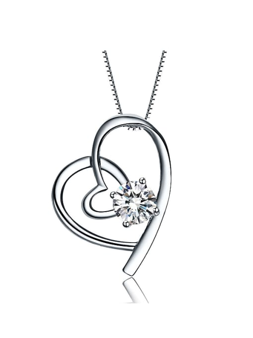 One Silver Fashion Style Heart Shaped Pendant 0