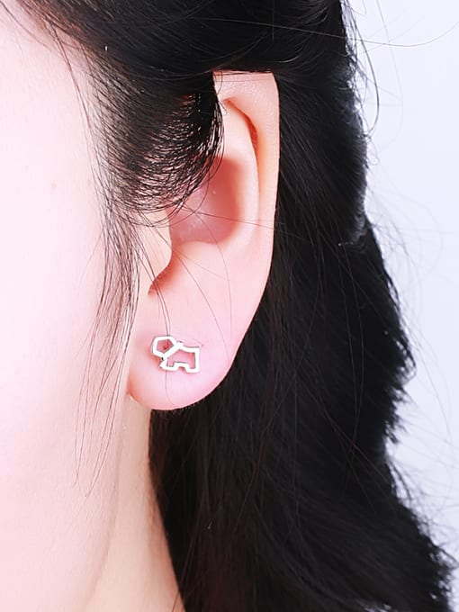 One Silver Lovely Dog Shaped stud Earring 1