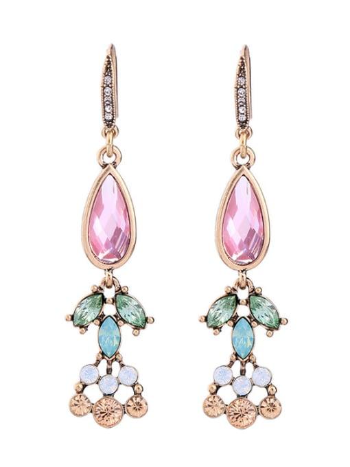 KM Elegant Colorful Stones Women Ear Hooks 0