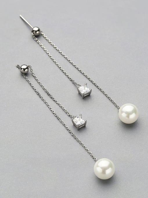 One Silver Women Elegant Pearl Zircon threader earring 2