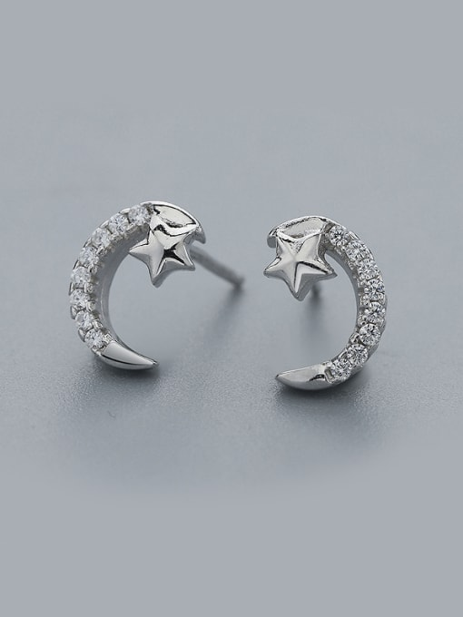 One Silver Temperament Star And Moon cuff earring