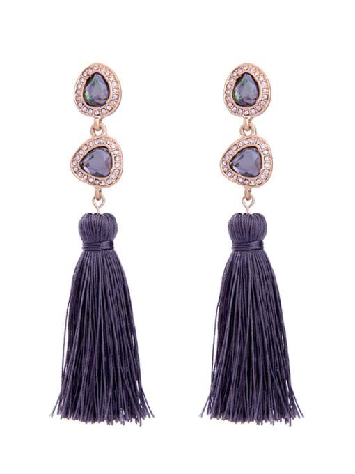 KM Elegant national Tassel Drop Chandelier earring