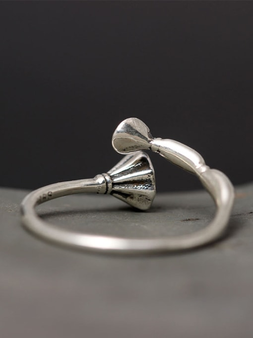 SILVER MI Retro Style Silver Lotus Root Open Ring 2