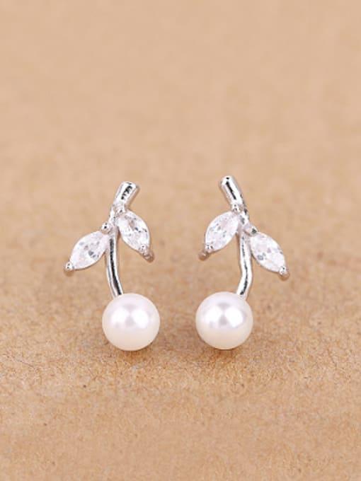 Peng Yuan Freshwater Pearl Leaves stud Earring 0