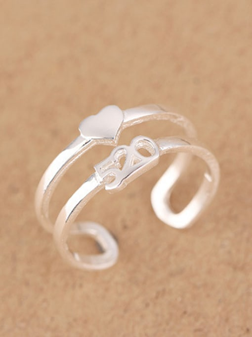 Peng Yuan Two-band Heart shaped Opening Ring 1