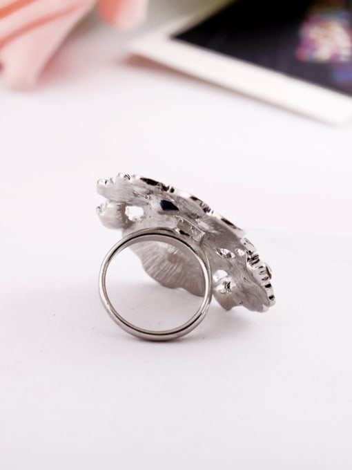 KM Exaggerate Colorful Flower Alloy Statement Ring 2