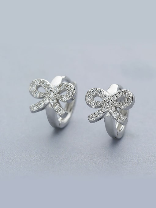 One Silver All-match Bowknot Shaped Stud Earrings