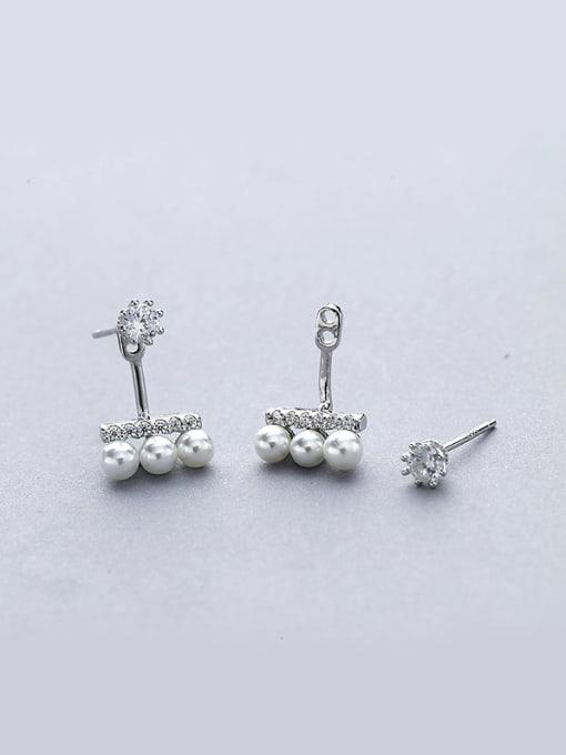 One Silver Fashionable Geometric Pearl Stud Earrings 0