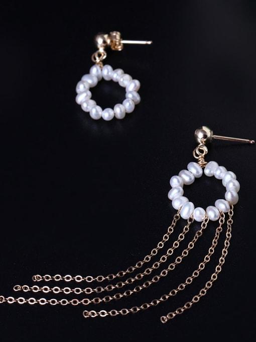 SILVER MI Handmade Freshwater Pearls Tassel Drop Earrings 1
