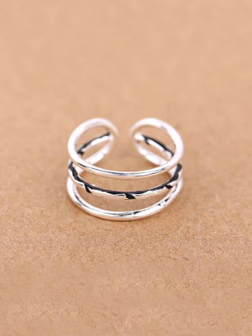 Peng Yuan Simple Three-band Opening Stacking Ring
