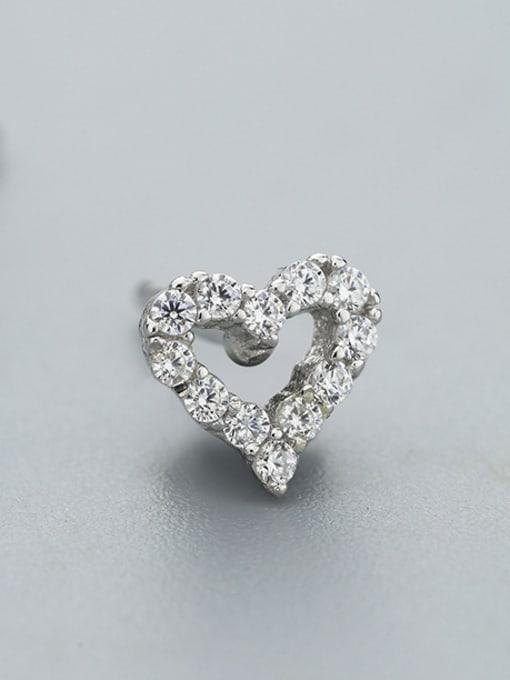 One Silver 925 Silver Heart Shaped Zircon cuff earring 2