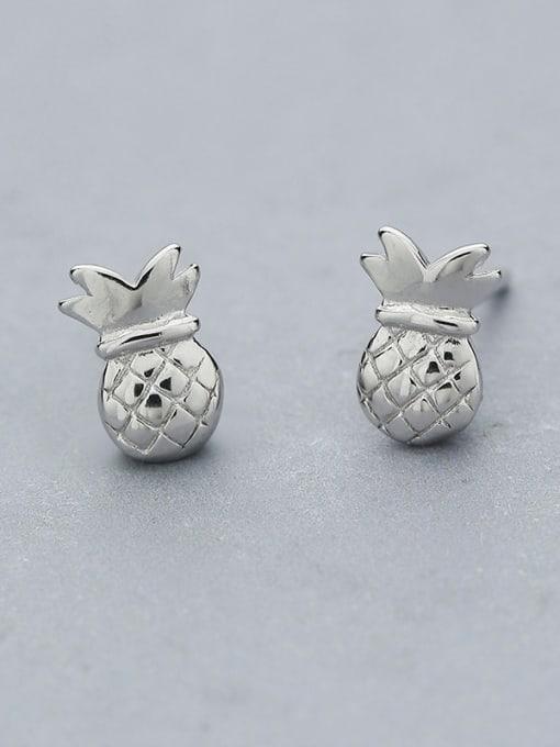 One Silver Cute Pineapple Shaped stud Earring