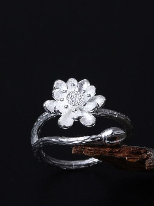 SILVER MI Lotus Flower-shape Opening Ring