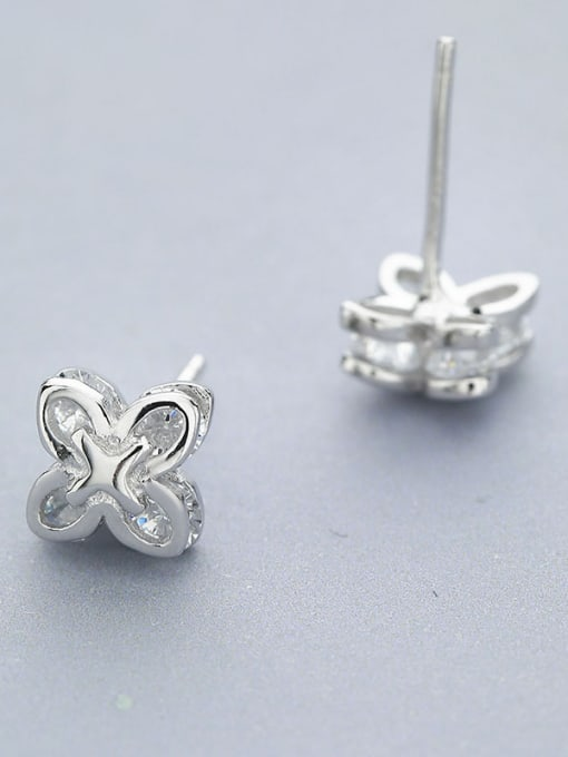 One Silver Delicate 925 Silver Flower Shaped Earrings 2