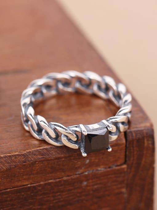 Peng Yuan Personalized Black Zircon Chain Ring 1