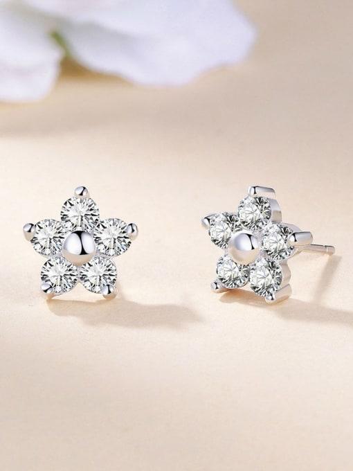 One Silver 925 Silver Star Shaped Zircon stud Earring
