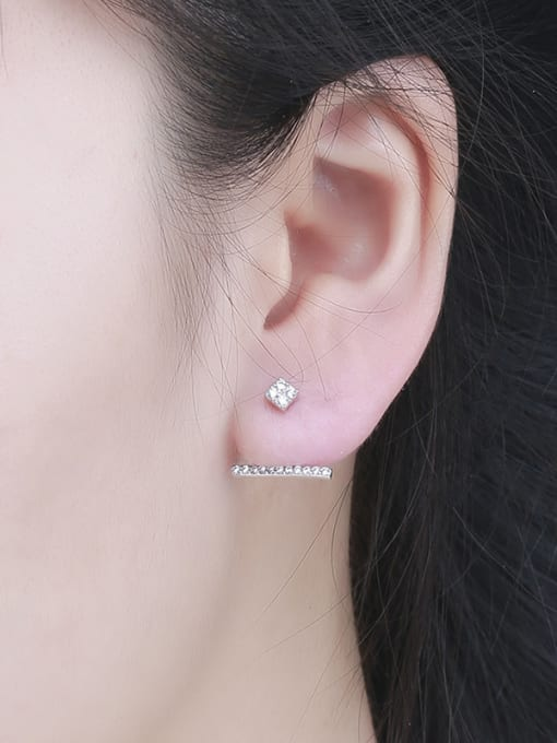 One Silver 925 Silver Temperament Zircon cuff earring 1