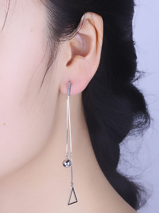 One Silver Trendy Triangle Shaped Stud threader earring 1