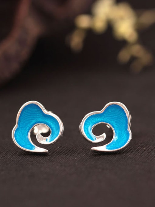 SILVER MI Blue Enamel Clouds Shaped stud Earring
