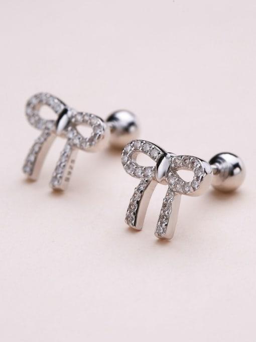 One Silver Women Temperament Bowknot Shaped stud Earring 2