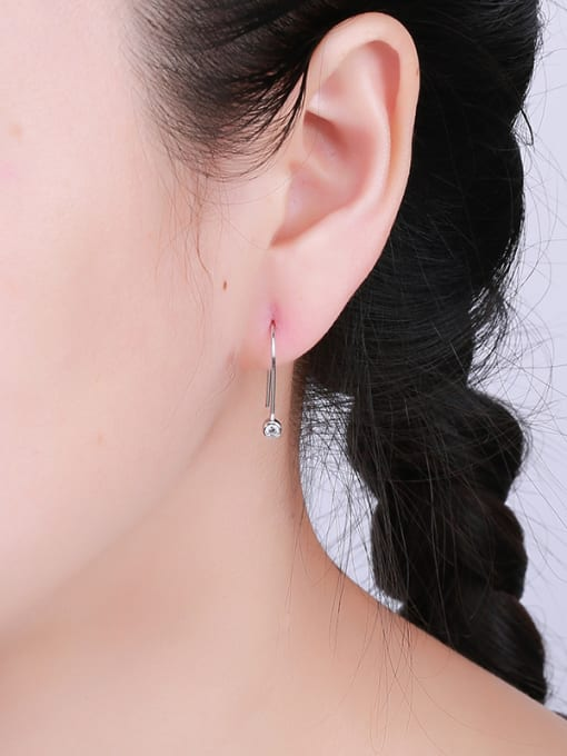 One Silver 925 Silver U-shaped Zircon Earrings 1