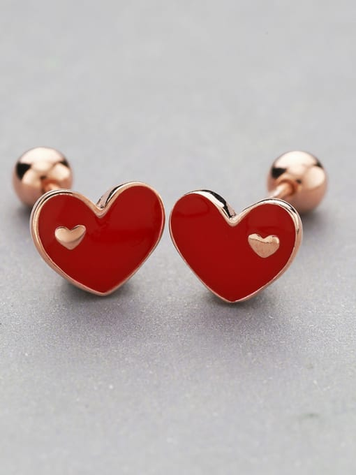 One Silver Rose Gold Plated Heart Shaped stud Earring 2