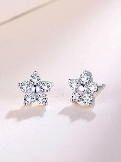 One Silver 925 Silver Star Shaped Zircon stud Earring 2