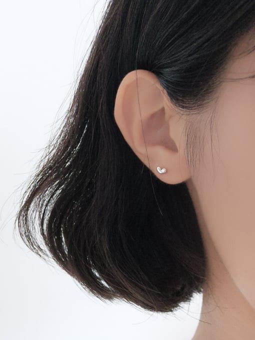 Peng Yuan Heart shaped Silver Stud Earrings 1