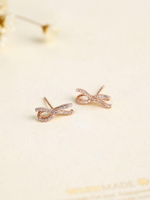 One Silver Rose Gold Plated Bowknot cuff earring