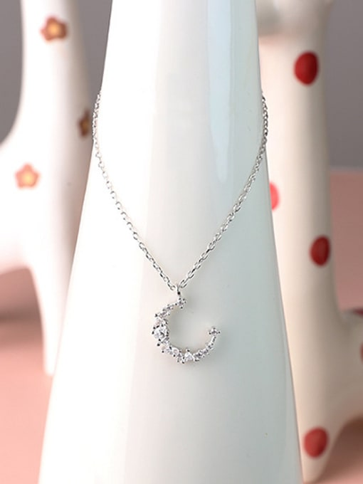 Peng Yuan Simple Little Moon Silver Necklace