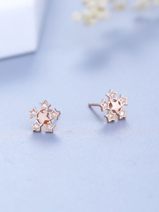 One Silver Rose Gold Plate Flower stud Earring