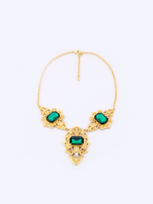 KM Personality Green Stones Alloy Necklace