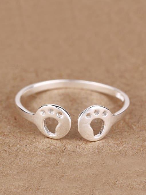 Peng Yuan Tiny Footprint Silver Opening Midi Ring