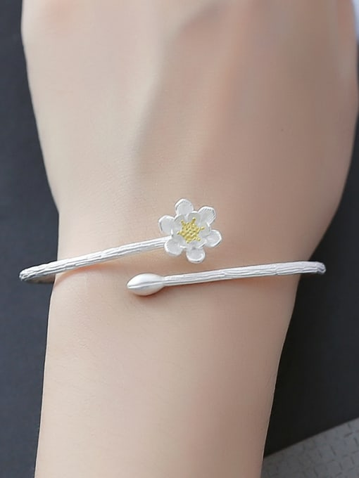 Peng Yuan Simple Flower Silver Opening Bangle 1