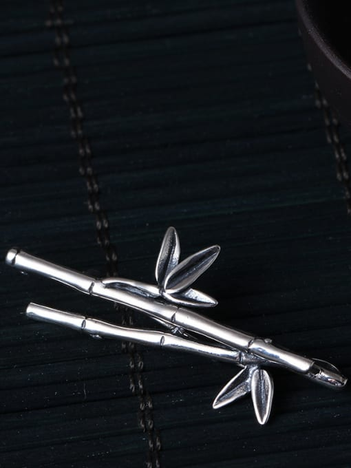 silver plated Dual-purpose Bamboo Shaped Brooch