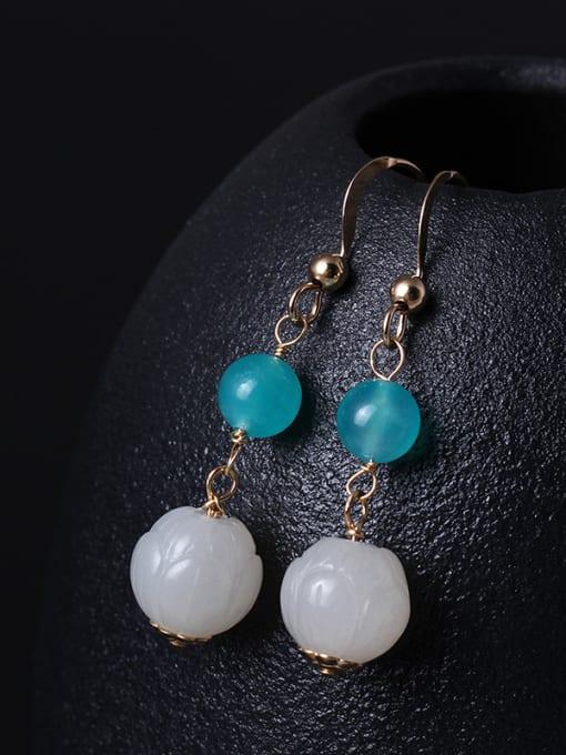 SILVER MI Noble Lotus Jade Drop Earrings 1