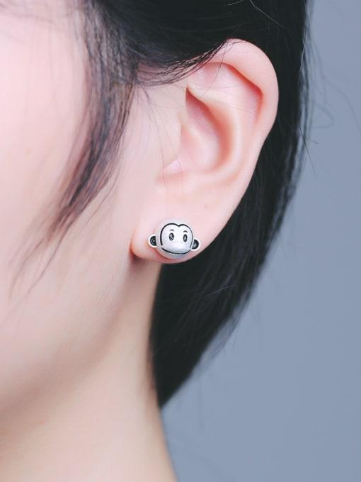 Peng Yuan Lovely Monkeys Silver stud Earring 1