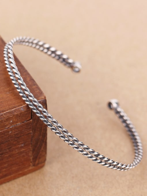 Peng Yuan Two-layer Twisted Silver Opening bangle 2