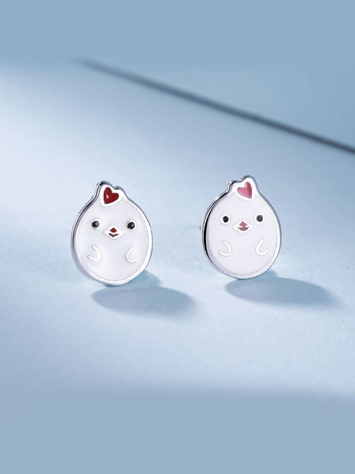 One Silver Cute Chicken Shaped Stud Earrings