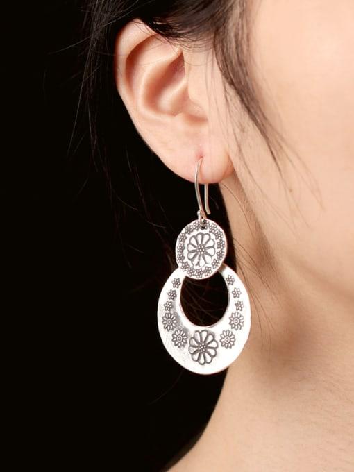 Peng Yuan Ethnic Handmade Silver Flowery hook earring 1