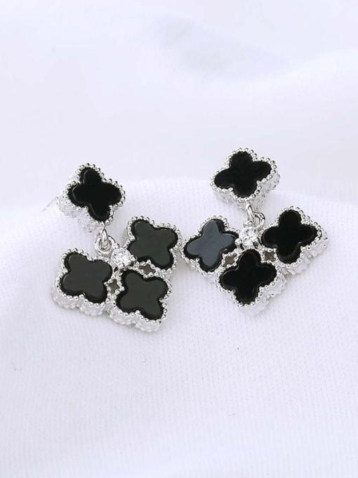 One Silver Elegant Black Carnelian Flower Earrings 1