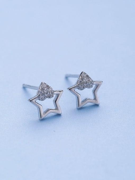One Silver 925 Silver Charming Star Zircon stud Earring 0