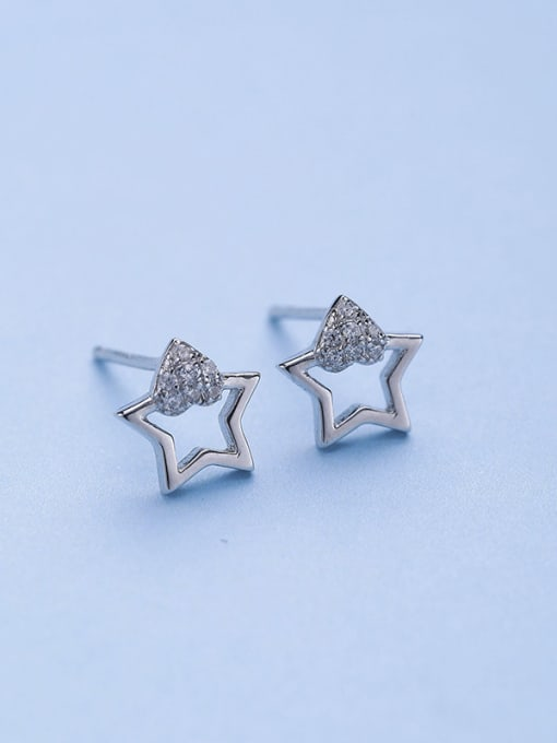 One Silver 925 Silver Charming Star Zircon stud Earring