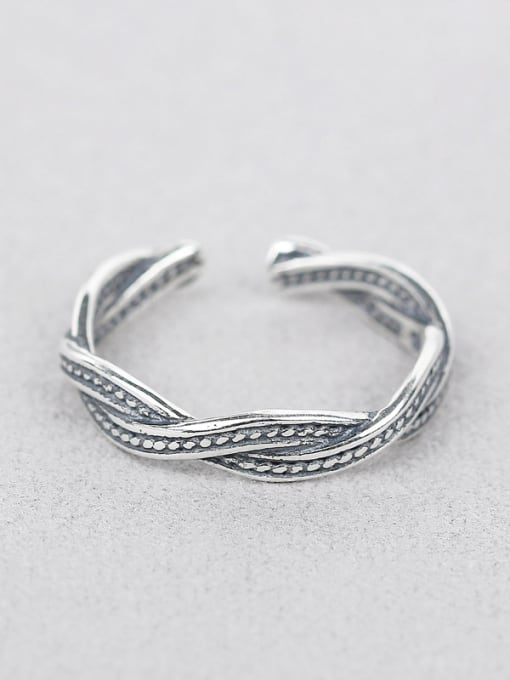 Peng Yuan Retro style Twisted Silver Ring 0