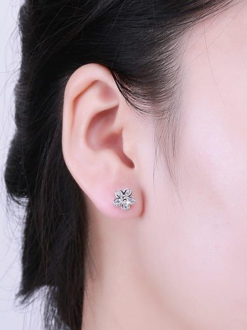 One Silver Women Flower Shaped Zircon Earrings 1
